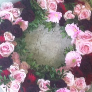 blomster krans lyserød
